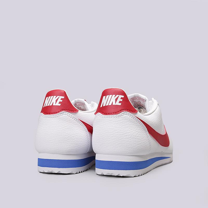 9604558c мужские белые, красные кроссовки nike classic cortez leather 749571-154 -  цена, описание