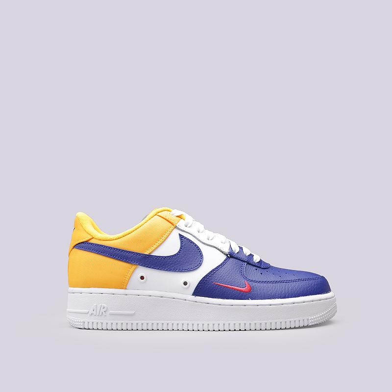 Кроссовки Nike Air Force 1`07 LV8Кроссовки lifestyle<br>Кожа, текстиль, резина<br><br>Цвет: Желтый, белый, синий<br>Размеры US: 8;8.5;9;9.5;10;10.5;11;11.5;12<br>Пол: Мужской