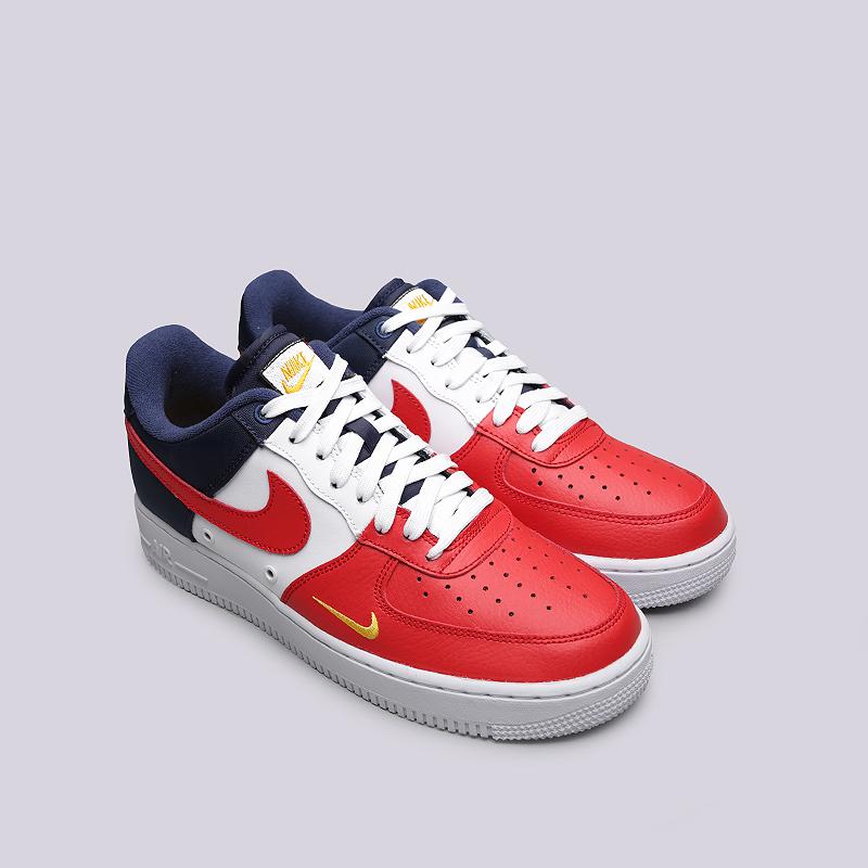 7b4015ba мужские белые, красные, синие кроссовки nike air force 1 `07 lv8 823511-