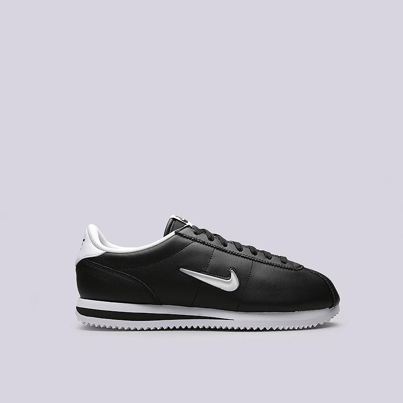 Кроссовки Nike Cortez Basic JewelКроссовки lifestyle<br>Кожа, текстиль, резина<br><br>Цвет: Черный<br>Размеры US: 8;8.5;9;9.5;10.5;11;11.5<br>Пол: Мужской