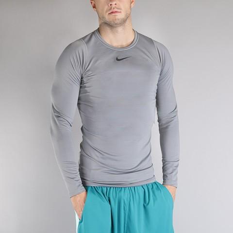 Купить мужской серый  лонгслив nike m np wm top ls comp в магазинах Streetball - изображение 1 картинки