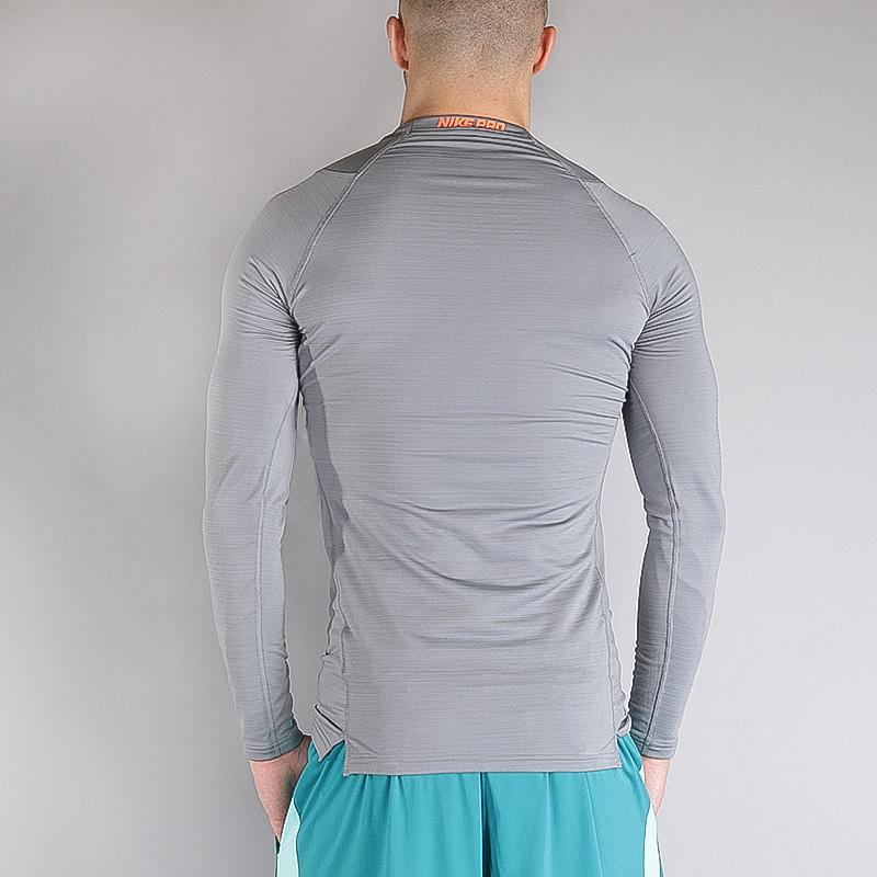 Купить мужской серый  лонгслив nike m np wm top ls comp в магазинах Streetball изображение - 2 картинки