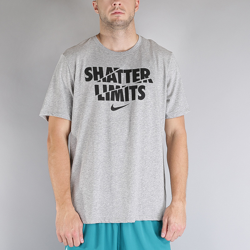 мужскую серую  футболка nike m nk dry tee df limits 853702-063 - цена, описание, фото 2