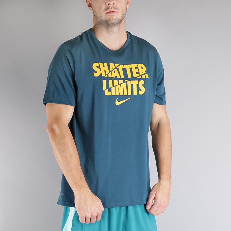 Футболка Nike M NK DRY TEE DF LIMITSФутболки<br>Хлопок, полиэстер<br><br>Цвет: Синий<br>Размеры US: S;M;L;XL<br>Пол: Мужской