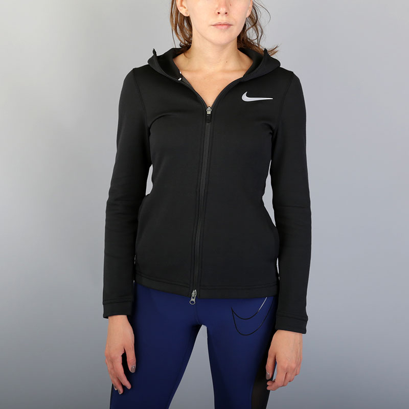 Толстовка Nike W NK Dry Showtime Hoodie FZТолстовки свитера<br>Полиэстер, хлопок<br><br>Цвет: Черный<br>Размеры US: XS;L<br>Пол: Женский