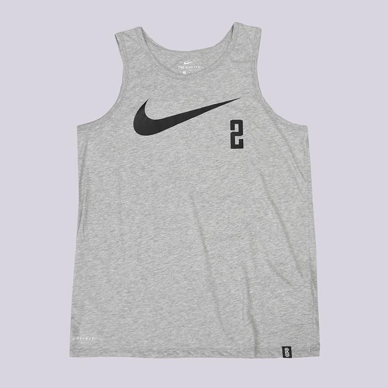 Майка Nike Dry Kyrie Basketball TankБезрукавки<br>75% полиэстер, 13% хлопок, 12% вискоза<br><br>Цвет: Серый<br>Размеры US: S;M;L;XL;2XL<br>Пол: Мужской