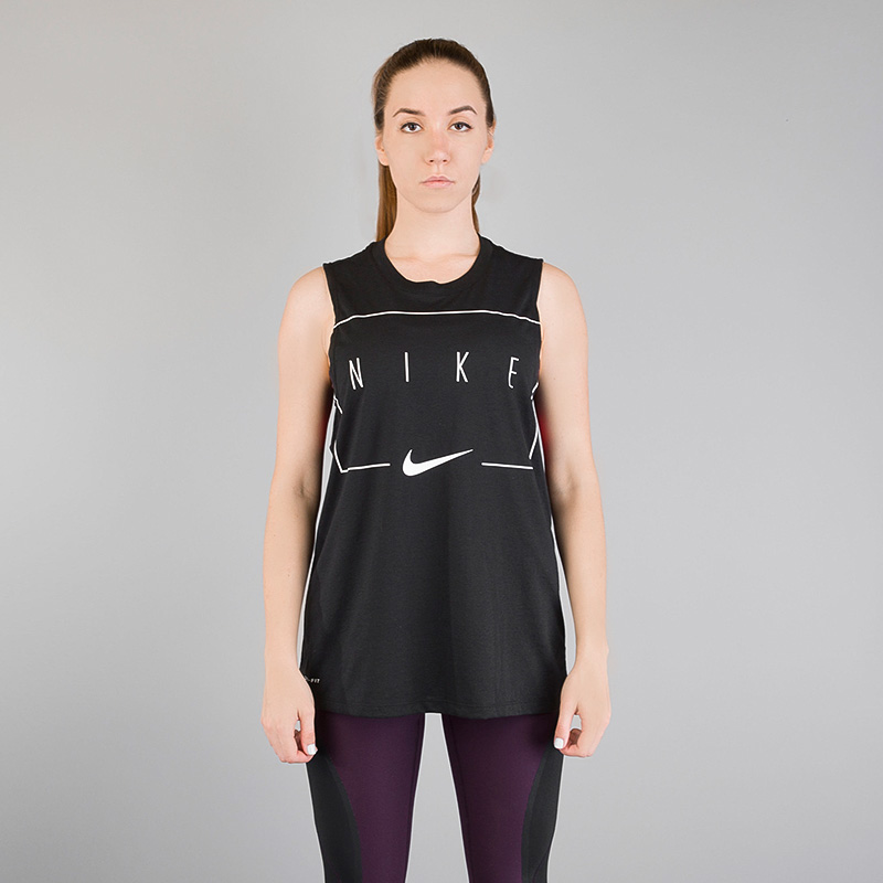 Майка Nike DRYФутболки<br>Полиэстер, хлопок, вискоза<br><br>Цвет: Черный<br>Размеры US: XS;S;M;L<br>Пол: Женский