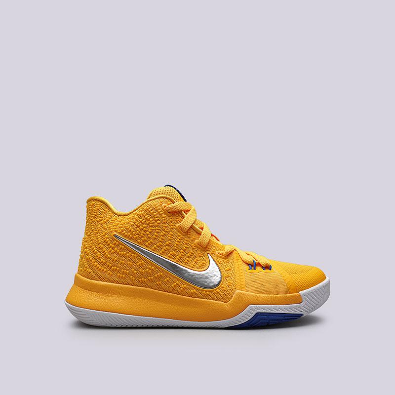 Кроссовки  Nike Kyrie 3 (GS)Обувь детская<br>Текстиль, пластик, резина<br><br>Цвет: Жёлтый<br>Размеры US: 3.5Y;4.5Y;4Y;5.5Y<br>Пол: Детский