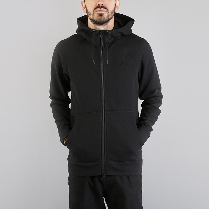 Толстовка Jordan Lifestyle Wings Fleece Full-Zip HoodieТолстовки свитера<br>73% хлопок, 18% вискоза, 9% полиэстер<br><br>Цвет: Черный<br>Размеры US: S;M;L;XL<br>Пол: Мужской