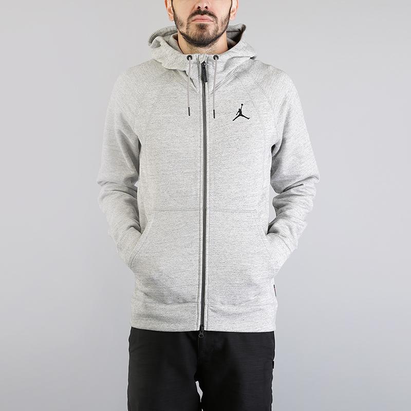 Толстовка Jordan Lifestyle Wings Fleece Full-Zip HoodieТолстовки свитера<br>73% хлопок, 18% вискоза, 9% полиэстер<br><br>Цвет: Серый<br>Размеры US: S;M;L;XL;2XL<br>Пол: Мужской
