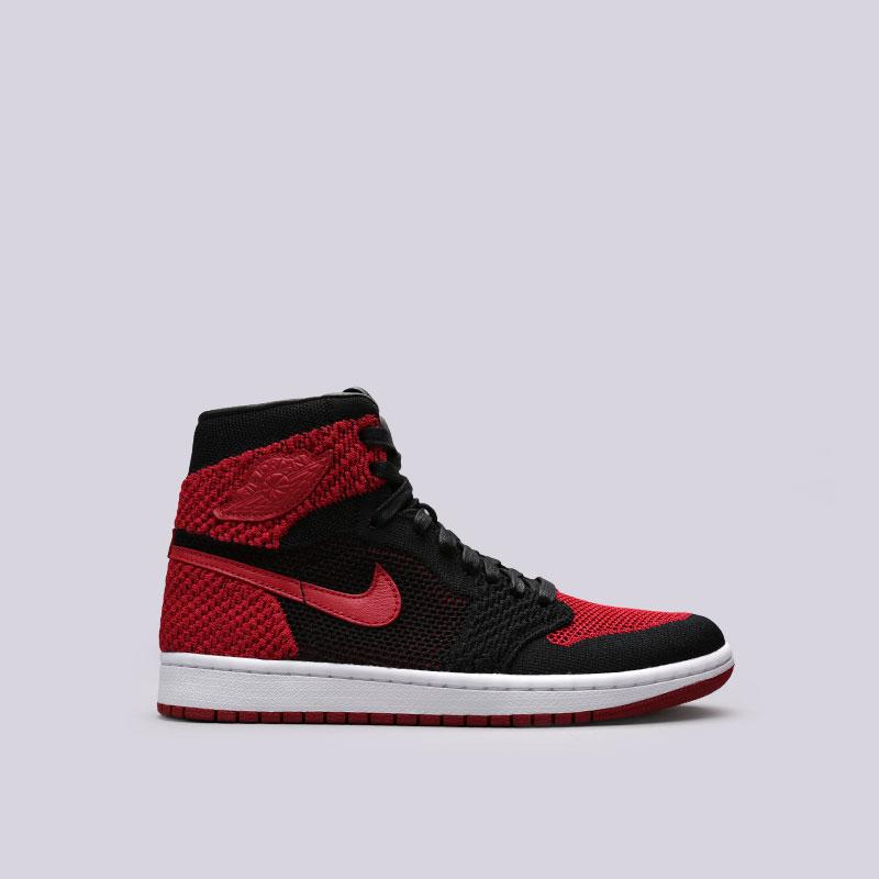 Кроссовки Jordan 1 Retro High FlyknitКроссовки lifestyle<br>Текстиль, синтетика, кожа, резина<br><br>Цвет: Черный, красный<br>Размеры US: 12.5;13;15<br>Пол: Мужской
