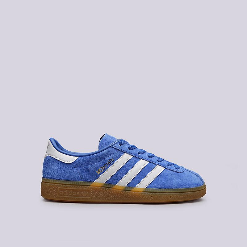 Кроссовки adidas Originals MunchenКроссовки lifestyle<br>Кожа, резина<br><br>Цвет: Синий<br>Размеры UK: 5;5.5;6.5;7;7.5;8;8.5;9;9.5;10;10.5;11;11.5