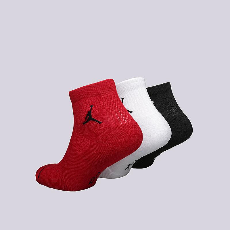 мужские черные, белые, красные  носки jordan jumpman quarter socks SX5544-011 - цена, описание, фото 2
