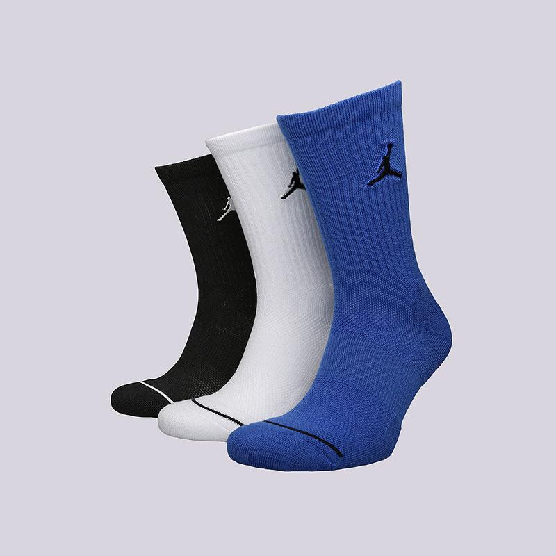 Носки Jordan Jumpman CrewНоски<br>Хлопок, синтетика<br><br>Цвет: Черный, белый, синий<br>Размеры US: M<br>Пол: Мужской