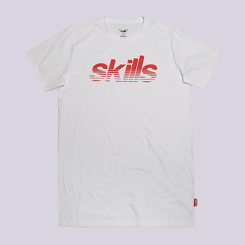 Футболка Skills StripesФутболки<br>100% хлопок<br><br>Цвет: Белый<br>Размеры : M;L;XL<br>Пол: Мужской