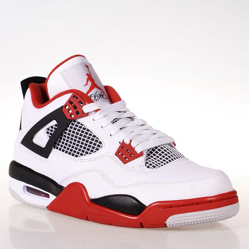 мужские белые, красные кроссовки air jordan 4 retro 308497-110 - цена,  описание 3c4b69c700e