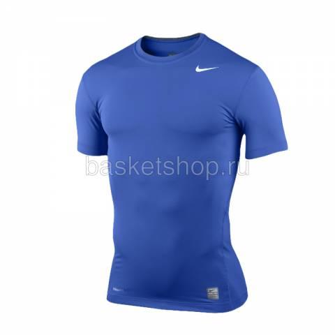 мужскую синюю  футболка nike pro 269603-493 - цена, описание, фото 1